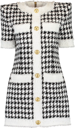 Balmain Houndstooth Button Down Tweed Dress