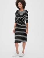 Gap Softspun Stripe Twist-Knot Midi Dress