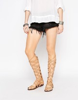 Sam Edelman Gena Tan Suede High Leg Gladiator Flat Sandals