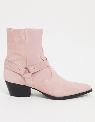 Depp leather western boots with harness detail in pink suede