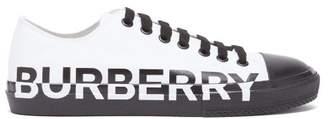 Burberry Larkhall Logo Print Canvas Trainers - Mens - White Black