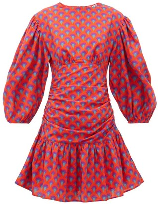 Rhode Resort Donna Scallop-print Cotton Mini Dress - Red Print
