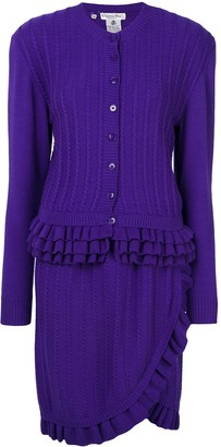 1990s Pre-Owned Ruffle-Trim Knitted Skirt Suit