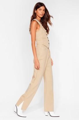 Nasty Gal Womens Get Over Slit Straight Leg Jeans - Beige - 6