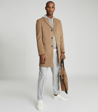 Reiss Gable - Wool-blend Epsom Overcoat in Camel
