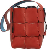 Paco Rabanne Brick-Pattern Leather Bucket Bag