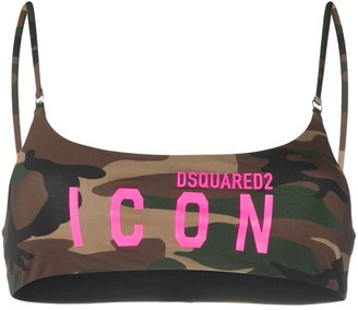 DSQUARED2 Camouflage Print Bikini Top