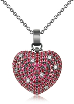 Ileana Creations Azhar Sterling Silver and Cubic Zirconia Heart Pendant Necklace