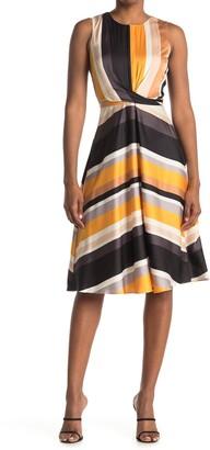 London Times Charmeuse Satin Stripe Print Dress