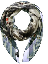 Chanel Grey Silk-Blend Scarf