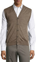 Neiman Marcus Button-Front V-Neck Sweater Vest, Brown