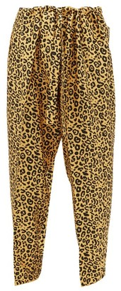 Umit Benan B+ - Leopard-print Wide-leg Silk-twill Trousers - Yellow Multi