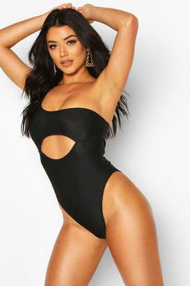 boohoo Asymetric Cut Out Contour Swimsuit