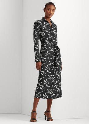Ralph Lauren Print Belted Crepe Shirtdress