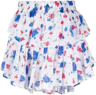 LoveShackFancy Layered All-Over Floral Print Skirt