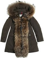 Moncler Clarabide Tech Nylon Down Coat W/ Fur
