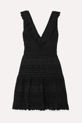 Alice + Olivia Cantara Ruffled Broderie Anglaise Cotton Mini Dress - Black