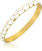 Just Cavalli White Giraffe Patterned Gold Plated Bangle Bracelet