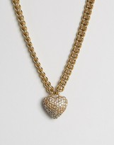 Juicy Couture Champagne Ombre Heart & Chain Necklace