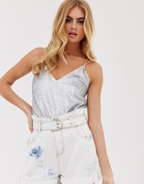 Asos Design DESIGN sequin cami with strap detail