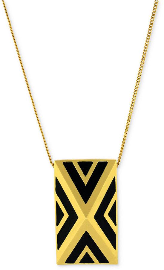 Vince Camuto Necklace, Gold-Tone Black Chevron Pyramid Pendant Necklace