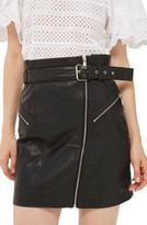 Topshop Women's Belted Zip Leather Skirt
