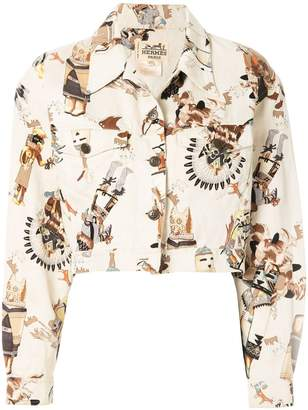 Hermes Pre-Owned First Nation print cropped jacket