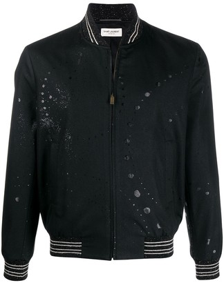 Saint Laurent Galaxy Print Bomber Jacket Black