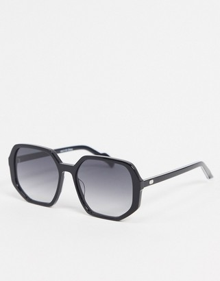 Spitfire Cut Sixteen oversized angular sunglasses in black