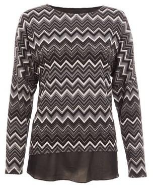 Dorothy Perkins Womens *Quiz Black And Grey Knit Chevron Print Top, Black