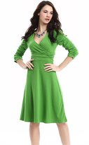 Soficy Deep V Neck 3/4 Sleeve Vintage Party Ruched Waist Cocktail Dress 3XL