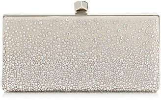 Jimmy Choo CELESTE/S Sprinkled Crystals on Ballet Pink Mesh Clutch Bag with Cube Clasp