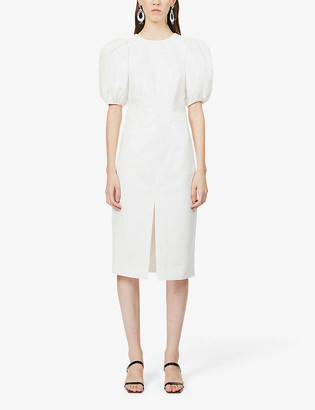 Rotate by Birger Christensen Katarina puff-sleeve faux-leather midi dress