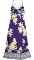 Zadig & Voltaire Roses Blossom Printed Silk Dress with Lace