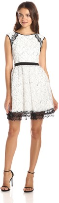 Minuet Women's Cap Sleeve Dress with Delicate Lace Contrast