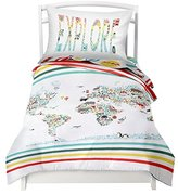 "Twin World Map Reversible Duvet Cover Set with 1 Pillowcase for Kids Bedding - Double Brushed Microfiber Does Not Shrink or Wrinkle by Where The Polka Dots Roam (68"" L x 86"" W) (68"" L X 86"" W)"