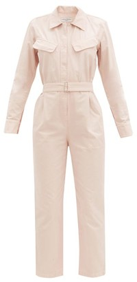 Officine Generale Serine Garment-dyed Cotton Jumpsuit - Light Pink