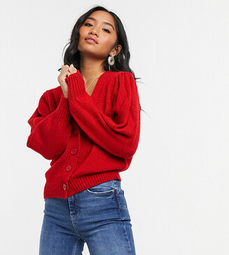 ASOS DESIGN Petite v neck cardigan with puff sleeve in red