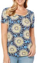 Rafaella Floral-Print Cotton-Blend Top