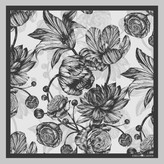 The Tulip & Peony Pocket Square Charcoal