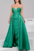 Jovani Stunning Strapless Sweetheart Long Dress with Over Skirt 37157