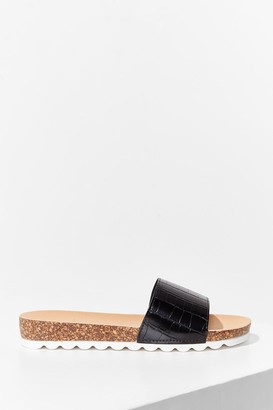 Nasty Gal Womens Step A-Slide Faux Leather Croc Sliders - Black