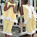 AMA(TM) 2PCS Toddler Kids Baby Girls Summer Cute Bow Vest Tops + Shorts Pants Outfits Clothes Set (4T, Yellow)