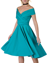 Closet Cross Over Panel Dress, Green