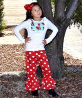 Beary Basics White Fox Top & Red Dot Ruffle Pants Set - Infant Toddler & Girls