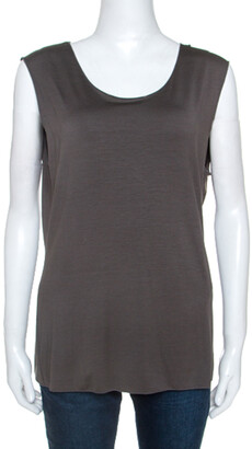 Armani Collezioni Grey Stretch Knit Sleeveless Top L