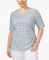 Charter Club Plus Size Cotton Boat-Neck T-Shirt, Only at Macy's