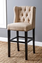 Scarlett Tufted Cream Linen Wingback Bar Stool