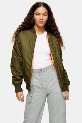 Topshop Womens Khaki Oversized Bomber Jacket - Khaki