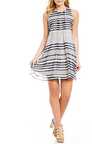 Calvin Klein Engineered Stripe Printed Chiffon Inverted Pleat A-Line Dress